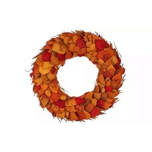"17"" Dried Leaf Wreath with Twigs  ORANGE"